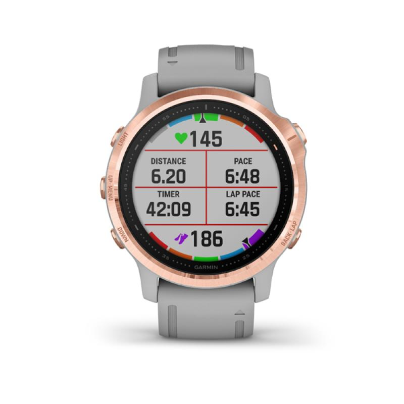 Garmin fénix 6S Sapphire, Rose Gold-tone, Powder Gray Band